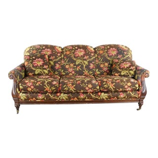 Modern Calico Corners Contemporary Floral Print Upholstered Wood Sofa For Sale