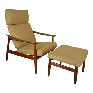Arne Vodder for France & Son Fd-164 Danish Modern Teak Lounge Chair With Ottoman - a Pair For Sale