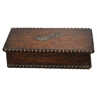 1920s English Oak Cigarette Box For Sale