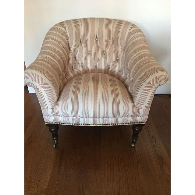 Custom Upholstered English Library Style Chair - Image 2 of 6