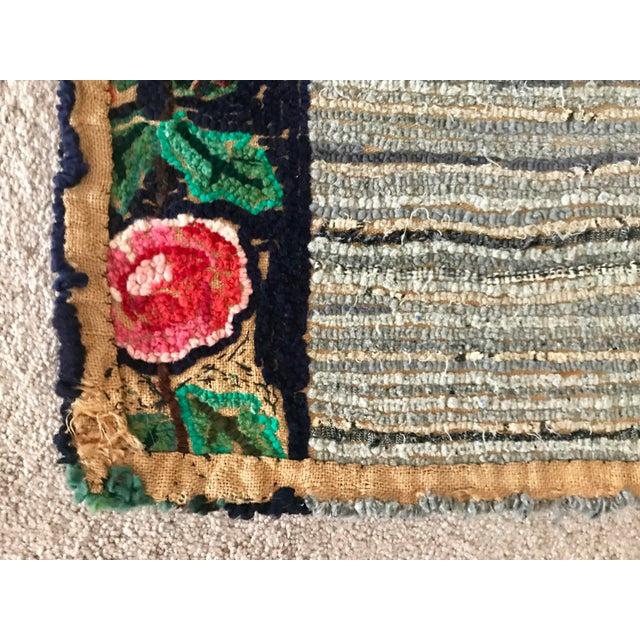 Textile Early 20th Century Antique Hooked Rug - 4′3″ × 1′10″ For Sale - Image 7 of 8
