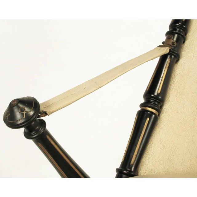 English Style Black Lacquer and Parcel-Gilt Folding Campaign Chair - Image 7 of 9