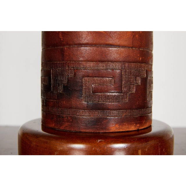 Pair of Vintage Peruvian Leather Lamps W/ Llama and Greek Key Decorations For Sale - Image 12 of 13