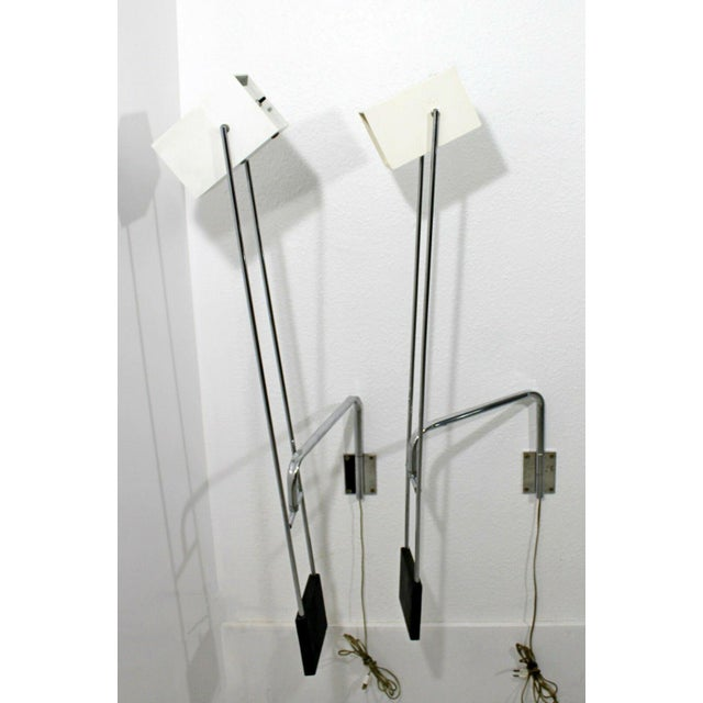 For your consideration is an incredibly unique pair of Sonneman adjustable, weighted, bedside reading lamps sconces. In...