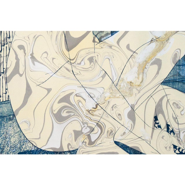 """Watercolor """"Geisha in the Bath"""", Hashiguchi Goyo Inspired Japanese Cyanotype With Marbling on Watercolor Paper 2020 For Sale - Image 7 of 10"""