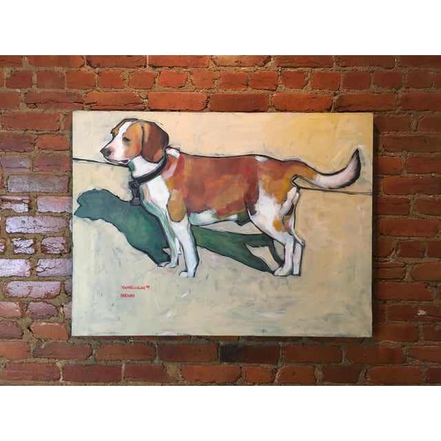 1990s Vintage Contemporary Beagle Dog Portrait Oil Painting Signed by Rise Delmar Ochsner For Sale - Image 12 of 13