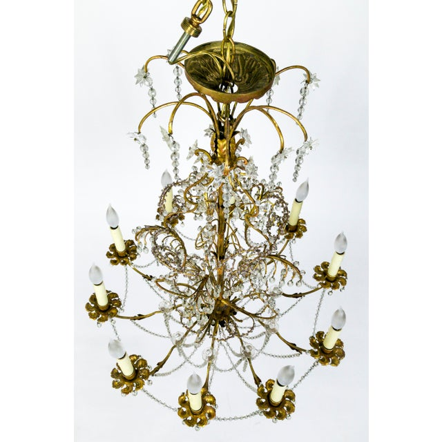 Purple French Crystal Beaded & Brass Curls Ten Light Chandelier For Sale - Image 8 of 11