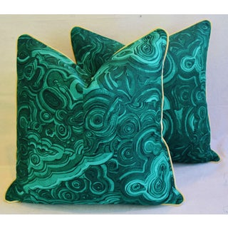 "Tony Duquette-Style Jim Thompson Malachite Pillows 24"" - Pair Preview"