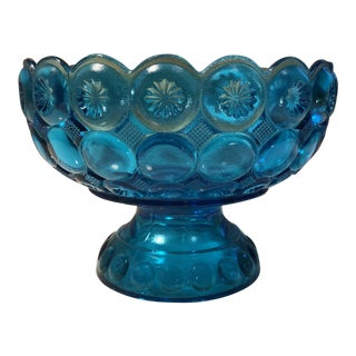 l.e. Smith Moon & Stars Aqua Blue Glass Compote