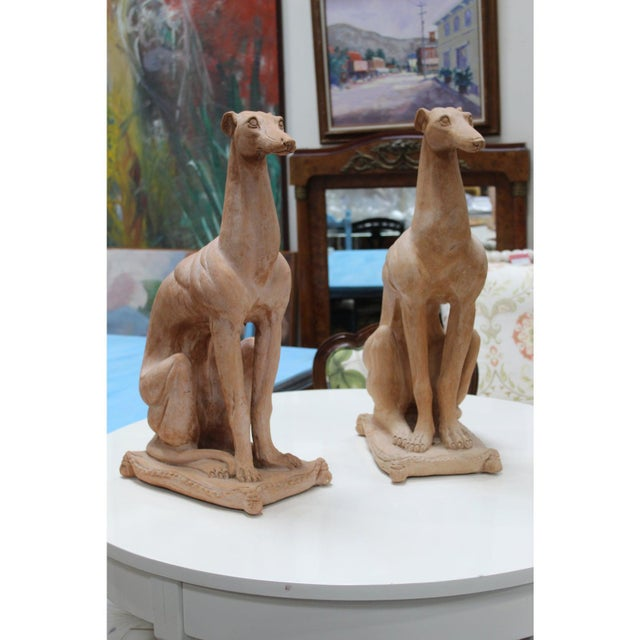 Nice size and highly decorative pr of Italian terracotta Whippet or Greyhound dog statues, neat and wonderful to have a...