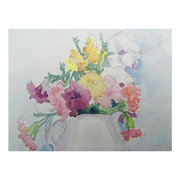 Mid-Century Floral Still Life Watercolor Painting - Image 2 of 4