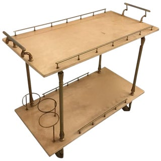 Aldo Tura Brass and Parchment Bar Cart For Sale