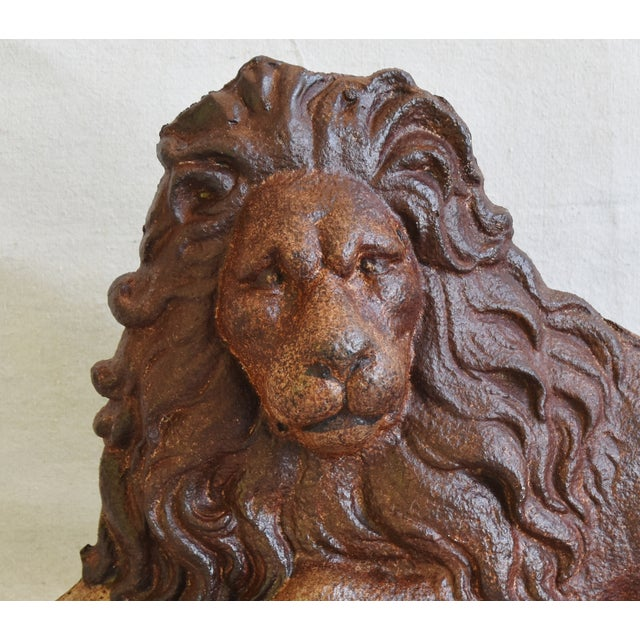 Adirondack Large Antique French Cast Metal Lion Figure For Sale - Image 3 of 10