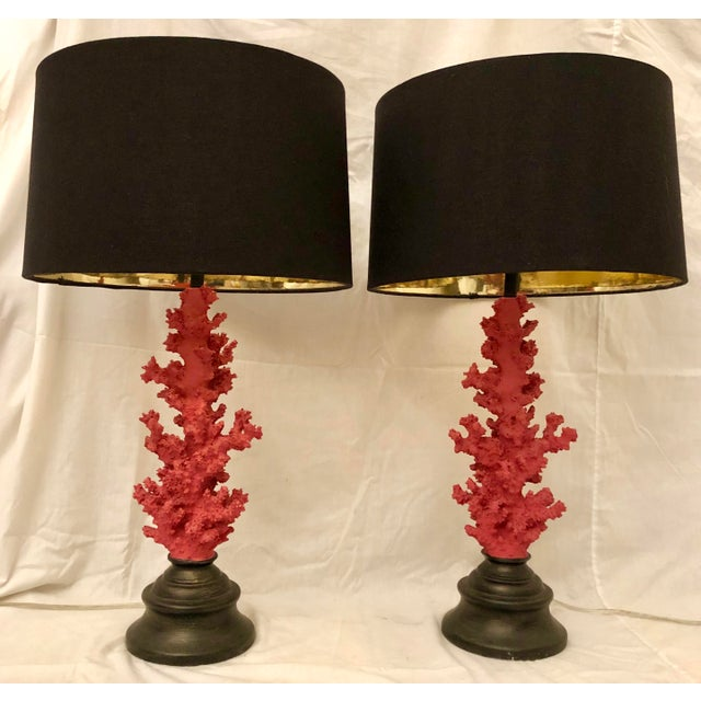 Vintage Red Faux Coral Branch Table Lamps - a Pair For Sale - Image 13 of 13
