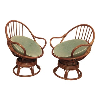 1950s Vintage McGuire Style Rattan Chairs- A Pair For Sale