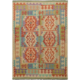 "Hand Knotted Traditional Design Wool Kilim. 4'10"" X 6'9"" For Sale"