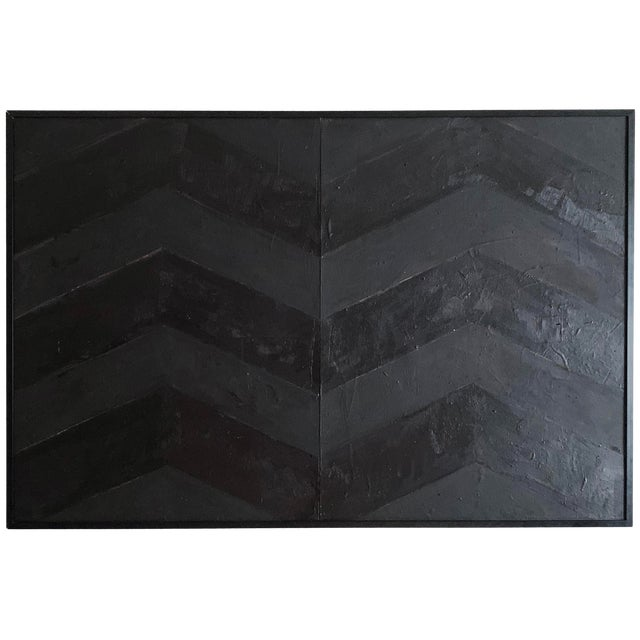 Minimal Black Geometric Painting For Sale