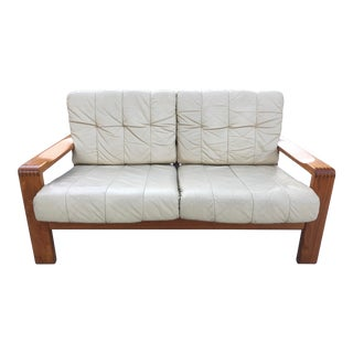 Danish Modern h.w. Klein for Bramin Møbler Solid Teak Leather Siesta Loveseat For Sale