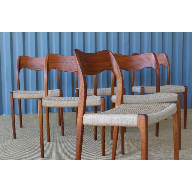 1960s Set of Six Dining Chairs by Niels Moller, Denmark, 1960s For Sale - Image 5 of 13