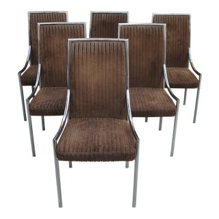 1970s Pierre Cardin Style Bassett Chrome and Velvet Dining Chairs - Set of 6 For Sale