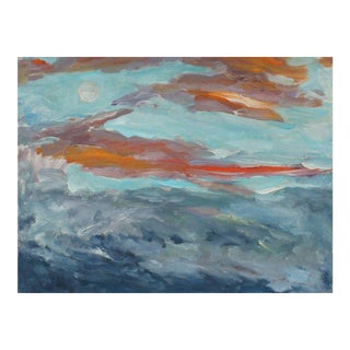 "Jack Freeman ""Full Moon Rise in a Sunset Sky"" Landscape with Clouds in Oil, 1989 For Sale"