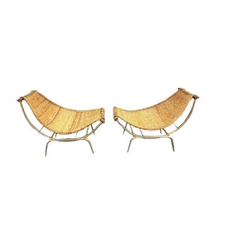 1950s Vintage Mid Century Troy Sunshine Wicker Basket Reclining Chairs-a Pair For Sale