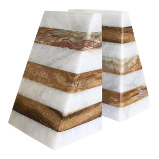 Marble Stripe Bookends - A Pair For Sale