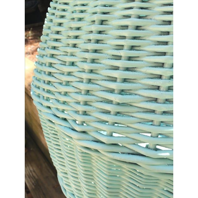 Vintage Turquoise Lidded Wicker Basket - Image 10 of 10