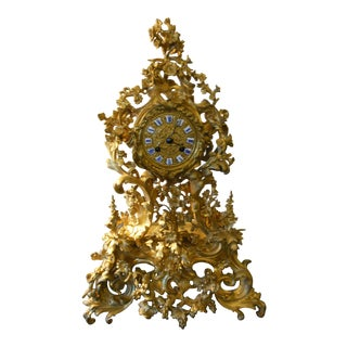Antique French Mantel Clock in Gilt Bronze 1870' For Sale