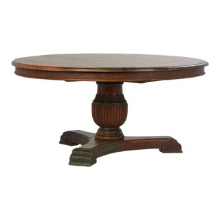 Reclaimed Wood Round Pedestal Table For Sale