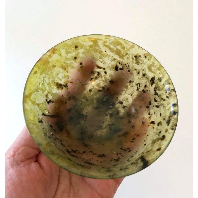 Antique Nephrite Spinach Jade Rice Bowl For Sale - Image 12 of 13