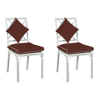 Haven Outdoor Dining Chair, Canvas Bay Brown with Canvas White Welt, Pair For Sale