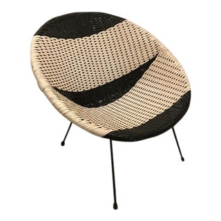Vintage Mid-Century Atomic B/W Vinyl Basket Chair For Sale
