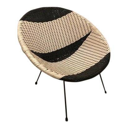 Vintage Mid-Century Atomic B/W Vinyl Basket Chair For Sale