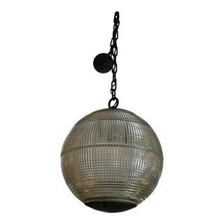 Parisian Holophane Globe Pendant Chandelier For Sale