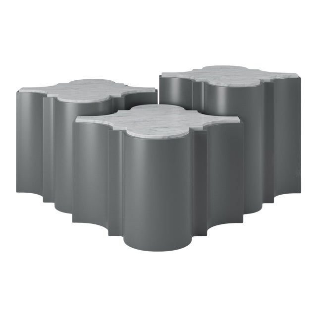 Sofia Nesting Tables, Set of 3 - Cheating Heart Charcoal For Sale