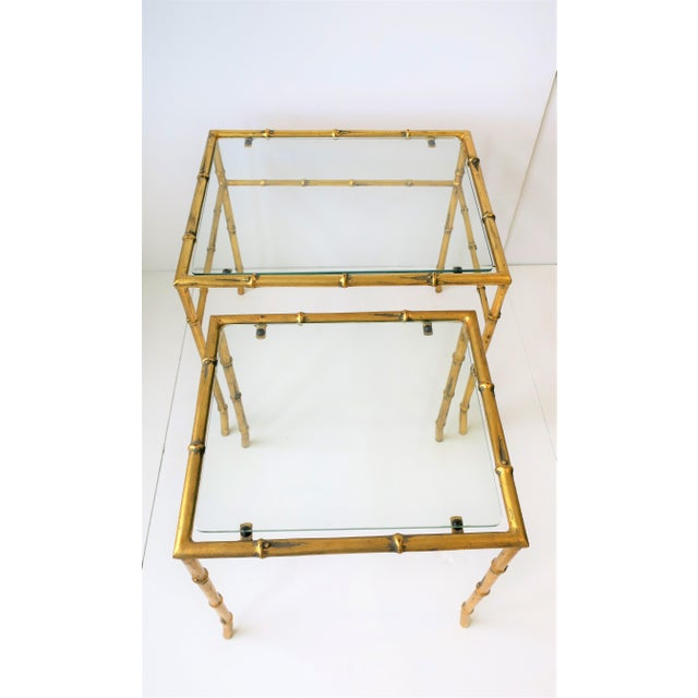 Italian Gold Gilt Bamboo and Glass Nesting or End Tables, Set of 2 For Sale - Image 12 of 12