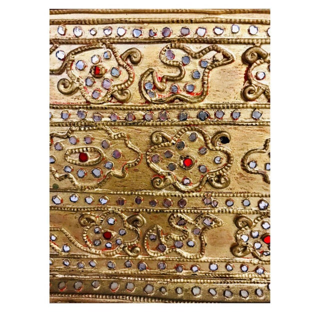 Gold 1950s Giltwood Jeweled Box For Sale - Image 8 of 12
