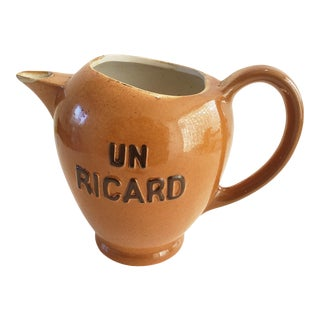 Old French Bistro Ceramic Ricard Pitcher For Sale