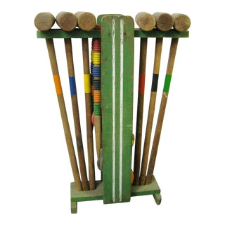 Vintage Wooden Croquet Set & Stand