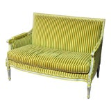 Image of French Louis XVI Style Settee W Colored Key Upholstery For Sale