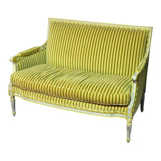 French Louis XVI Style Settee W Colored Key Upholstery For Sale