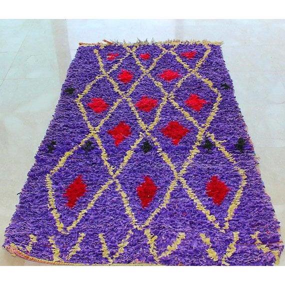 "Purple & Red Diamond Pattern Boucherouite Rug - 3'4"" X 6'5"" - Image 2 of 4"