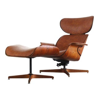 Mid Century Modern Mr. Chair for Plycraft by George Mulhauser Bentwood Lounge Chair & Ottoman For Sale