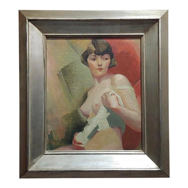 Reva Jackman -1927 Art Deco & Cubism Nude Female Portrait-Beautiful Oil Painting For Sale