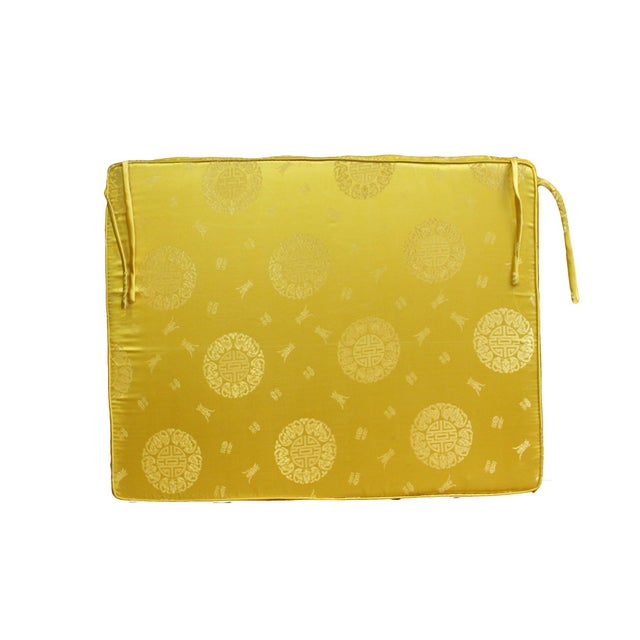 Chinoiserie Chinese Oriental Golden Yellow Silk Fabric Rectangular Seat Cushion Pad For Sale - Image 3 of 6