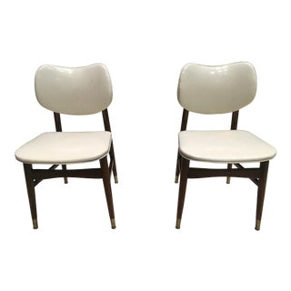 Mid-Century Modern Thonet Style Bentwood Walnut and Vinyl Dining Chairs by Shelby Williams - a Pair For Sale