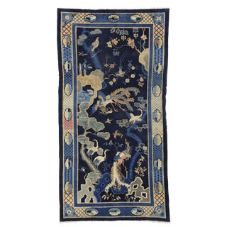 Early 20th Century Antique Chinese Pictorial Baotou Rug - 6′ × 11′6″ For Sale
