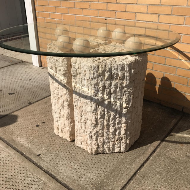 Abstract Coquina & Stone Glass Top Dining Table For Sale - Image 3 of 7