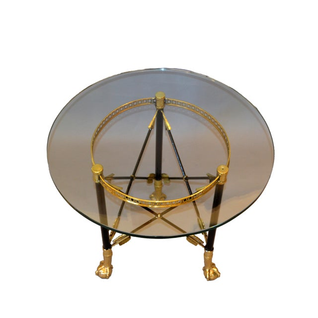 Round Bronze Glass Coffee Table Ball and Claw Feet For Sale - Image 11 of 13
